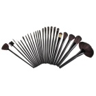 Professional Cosmetic Tool 24 Pieces Wool Makeup Brushes Set w/ Leather Case - Black