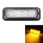 MZ Wired 12W 4-LED Car Flashing Warning Signal / Headlight / Lamp Yellow Light 597nm 720lm (12~24V)