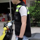 RidingTribe Reflective Riding Safety Vest - Black + Yellow Green (L)