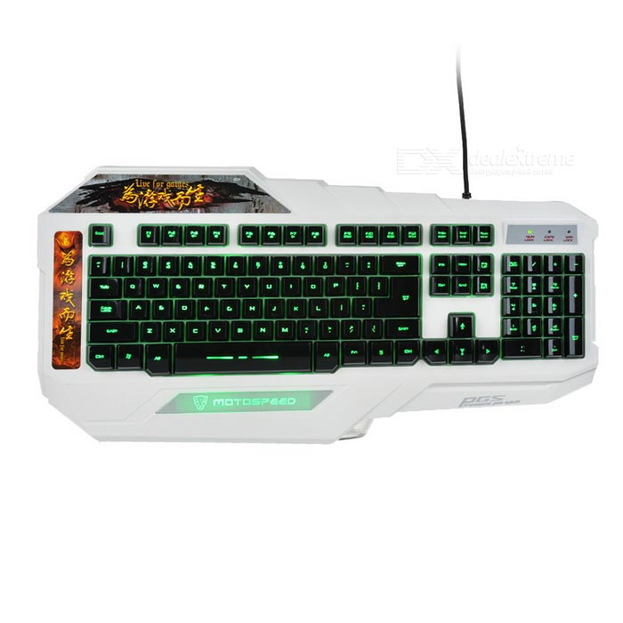 Motospeed K90L USB Wired Gaming Keyboard w/ Backlight - White + Black