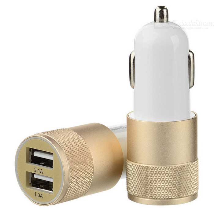 Universal Dual USB Car Power Charger Adapter - Golden + White (2PCS)
