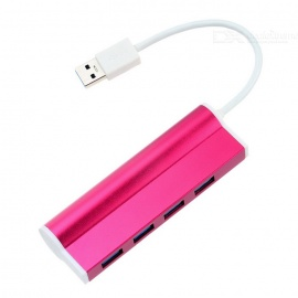 Aluminum Alloy 4-Port USB 3.0 Splitter Hub - Deep Pink + White