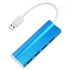 Aluminum Alloy 4-Port USB 3.0 Splitter Hub - Light Blue + White