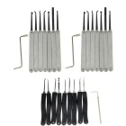 Stainless Steel Single Hook Pick + Lock Pick Tool Set - Silver + Black