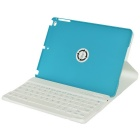 Rotatable bluetooth v3.0 caso de teclado w / stand para IPAD AIR - azul