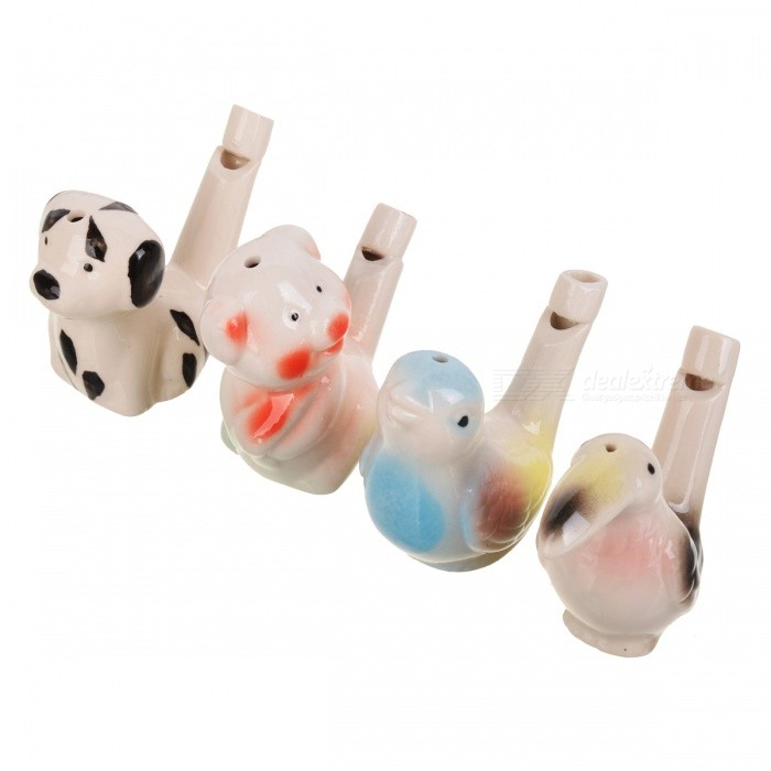 Ceramic Bird Style Water Warbler Whistle for Kids - Multi-Color (4PCS)