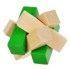 Wooden Puzzle Interlocks + Magic Cube Educational Toys - Wood + Green