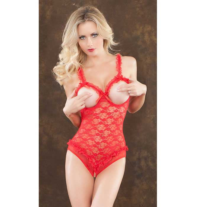 Women's See-Through Lace Open Breasts & Crotch Teddy Lingerie - Red