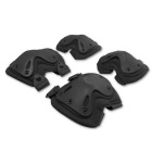 Skating Knee & Elbow Safety Support Protector Pads Set - Black