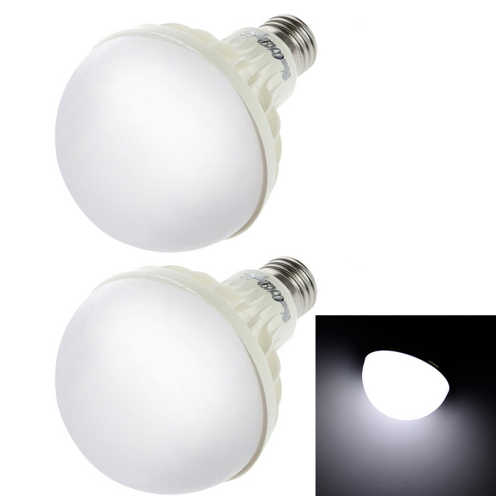 YouOKLight YK0027 E27 7W 700lm Cold White LED Bulb Lamp - White (2PCS)