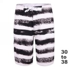 Men's Black and White Stripe Beach Shorts + Quick-Drying Boardshorts - Black (32)