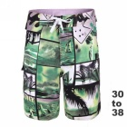 Men's Printed Beach Shorts + Quick-Drying Boardshorts - Green (34)