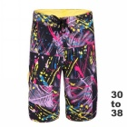 Men's Printed Quick-Drying Polyester Boardshorts / Beach Shorts - Black (Size 34)