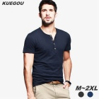 KUEGOU Men's Cotton Henry Collar Short Sleeves T-Shirt - Blue (M)