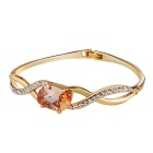 Women's Fashionable Twisted Cross Crystal Alloy Bracelet Bangle - Golden