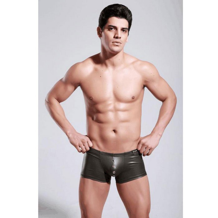 PU Leather Boxer Briefs roupa íntima masculina - Exército Verde (M)