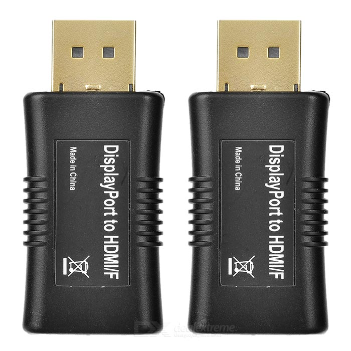 Displayport Male to HDMI Female Adapters - Black (2PCS)Computer Cable&amp;Adapter<br>Form  ColorBlackQuantity2 DX.PCM.Model.AttributeModel.UnitShade Of ColorBlackMaterialGold-platedInterfaceOthers,HDMITypeOthers,Desktops and laptopsPacking List2 x Adapters<br>