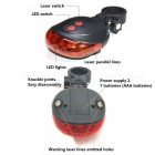 Bicycle Bike 9-Mode 5-LED Red Light Tail Warning Safety Light - Red