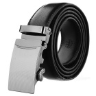 Men's Split Leather Belt w/ Arch Pattern Automatic Buckle - Black