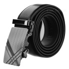 Men's Stylish Split Leather Belt w/ Parallel-cross Line Automatic Buckle - Black