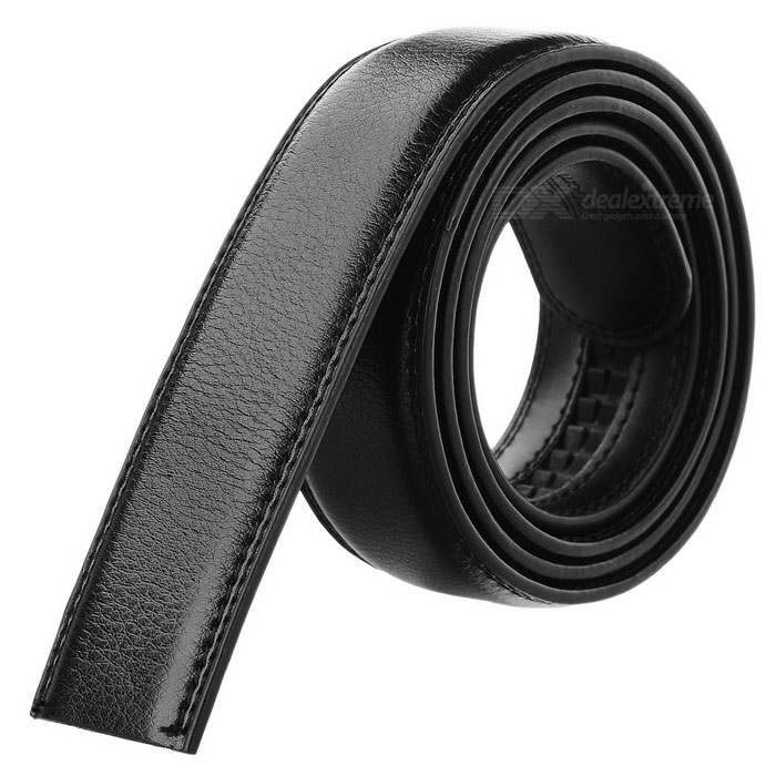 Men's Cow Split Leather Waistband Belt w/o Buckle - Black (120cm)
