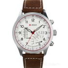 CURREN 8152 PU Leather Wristband Quartz Watch for Men - Brown + White (1 x 626)