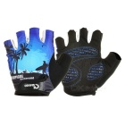 MOke Outdoor Cycling Sweat-Absorbing Polyester Half-Finger Gloves - Black + Blue (XL / Pair)
