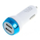 2.1A Double USB Port Universal Quick-Charging Car Charger - White + Blue (12~24V)