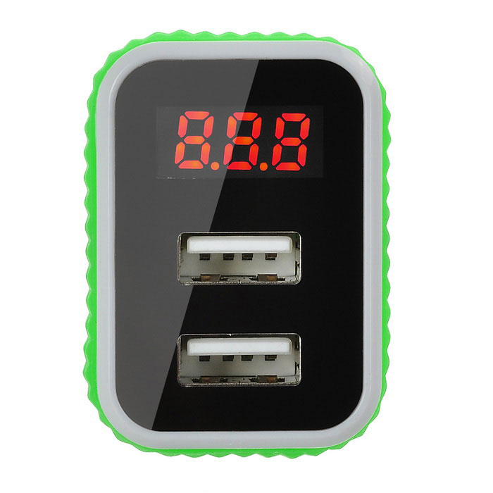 jtron double usb chargeur de voiture w batterie de d tection de la tension blanc vert. Black Bedroom Furniture Sets. Home Design Ideas