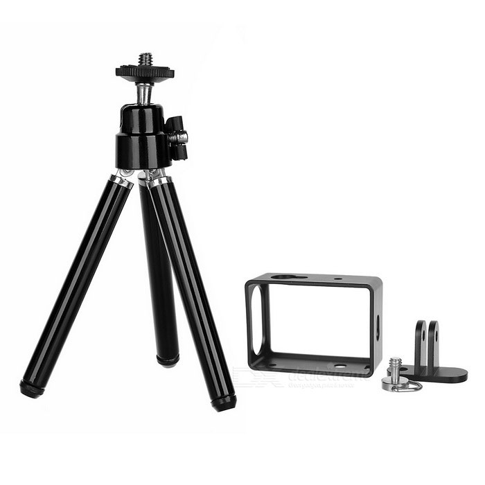 Aluminum Alloy Camera Border Frame Case, Tripod Set for Xiaoyi - Black