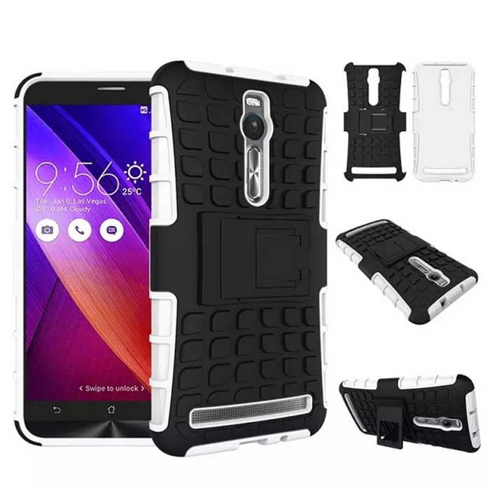 Rugged Case w/ Stand for Asus ZenFone 2 ZE551ML ZE550ML - White+Black