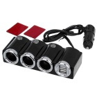 90W Car Cigarette Lighter Socket Splitter / Dual-USB Adapter - Black