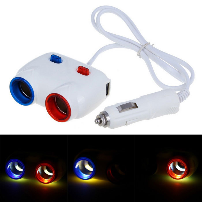 80W Car Cigarette Lighter Socket Splitter / Dual-USB Adapter - White