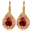 Water Drop Style Alloy Rhinestone Earrings - Golden