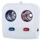 80W 1-to-2 Car Cigarette Lighter Sockets / Dual-USB Adapter - White