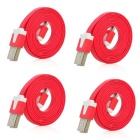 USB Male to Micro USB Male Charging Data Flat Cables - Red (4PCS / 100cm)