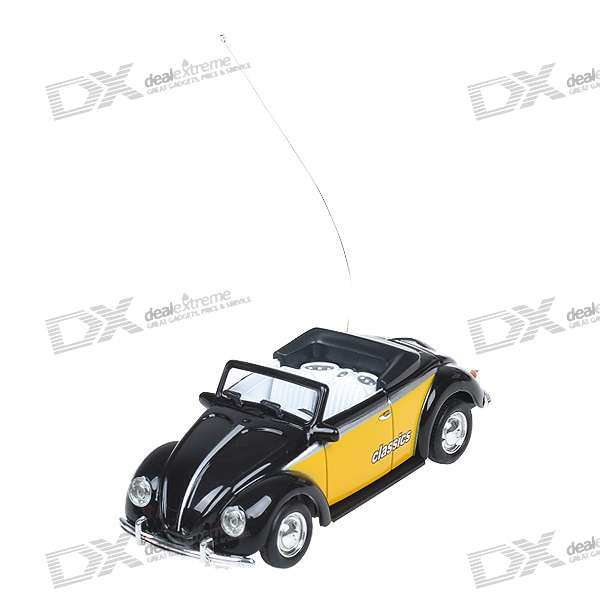 Mini Rechargeable R/C Model Classic Roadster Car - Black + Yellow (27MHz)