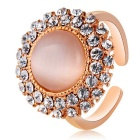 Round Alloy Rhinestone Finger Ring - Golden