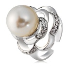 Women's Fashionable Imitation Pearl Rose Style Crystal Ring - Silver