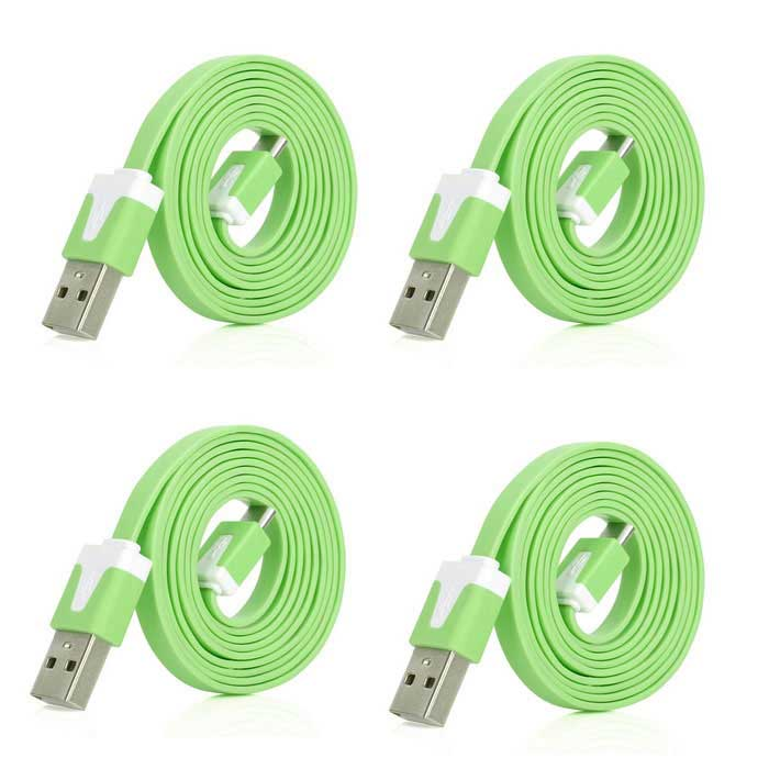 USB M to Micro USB M Charging & Data Sync Flat Cables - Green (4PCS)