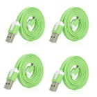 USB Male to Micro USB Male Charging & Data Sync Flat Cables - Green (4 PCS)