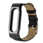 Replacement Cow Leather Wrist Band Strap Wristband for Xiaomi Smart Bracelet - Black + Silver Black