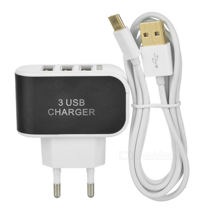 USB 3.1 M tot USB2.0 M kabel + EU-stekker 3-USB-adapter - wit