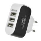 USB 3.1 M to USB2.0 M Cable + EU Plug 3-USB Adapter - White