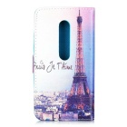 Tower Printed PU Case w/ Card Slots / Stand for Moto G - Multicolored