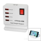 USB 2.0 4-Port Power Charger w/ Switch, Phone Stand Slot + EU Plug Cable - White