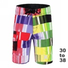 Men's Colorful Lattice Printed Quick-Drying Beach Shorts Boardshorts - Green (34)