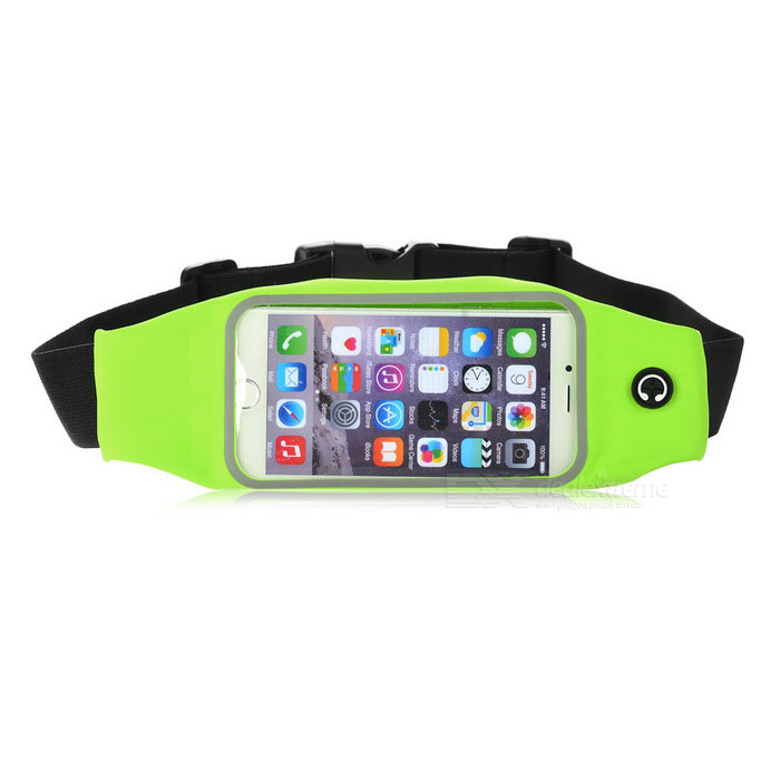 Sports Nylon Waist Band Pouch for IPHONE 6 / 6S - Green + Black