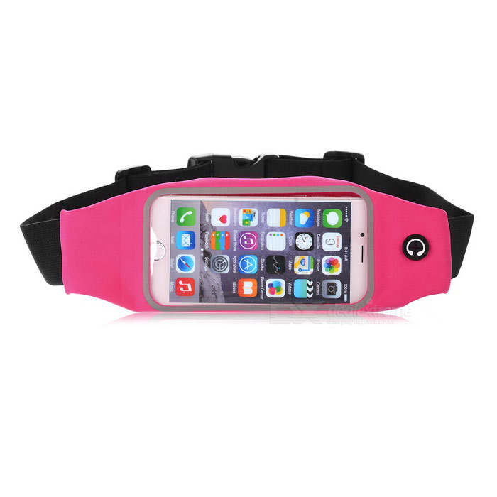 Sports Nylon Waistband Bag Case Pouch for IPHONE 6 / 6S - Deep Pink