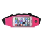Mini Smile Outdoor Sports Adjustable Nylon Waistband Bag Case Pouch for IPHONE 6 - Deep Pink + Black